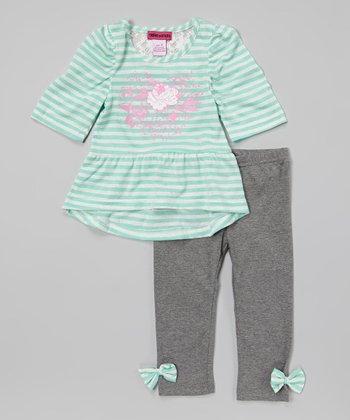 Unik Mint Stripe Floral Peplum Top & Gray Leggings - Toddler & Girls