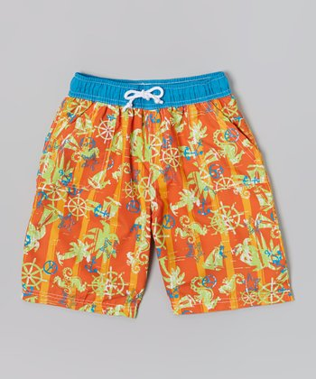 Orange Palm Tree Maui Sun Surf Swim Trunks - Boys