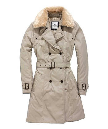 Mocha Faux Fur-Trim Trench Coat