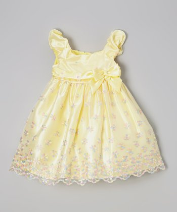 Yellow Floral Overlay Cap-Sleeve Dress - Infant, Toddler & Girls