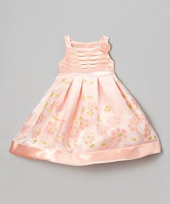 Peach Floral Satin A-Line Dress - Toddler & Girls