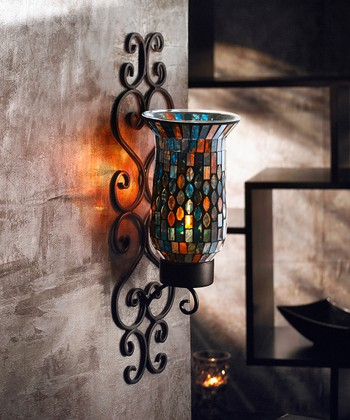 Blue Mosaic Glass Wall Sconce