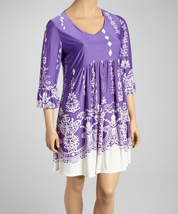 Reborn Collection Purple & White Abstract Dress - Plus