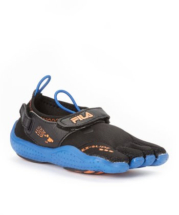Black & Vibrant Blue Skele-Toes EZ Slide Drainage Shoe - Kids