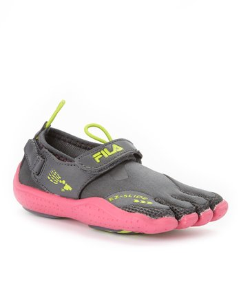 Gray & Pink Skele-Toes EZ Slide Drainage Shoe - Kids