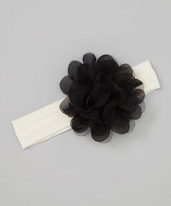 Truffles Ruffles Ivory & Black Crocheted Flower Headband