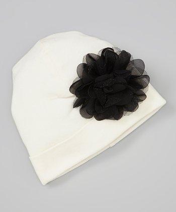 Truffles Ruffles Ivory & Black Flower Beanie