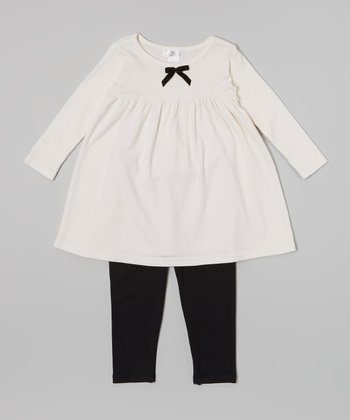 Truffles Ruffles Ivory & Black Velvet Bow Dress & Leggings - Infant
