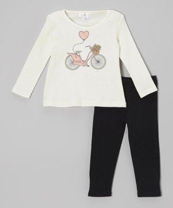 Truffles Ruffles Ivory Bicycle Tunic & Black Leggings - Infant
