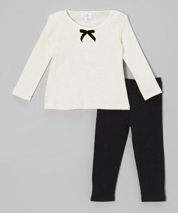 Truffles Ruffles Ivory Velvet Bow Tunic & Black Leggings - Infant
