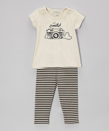 Truffles Ruffles Ivory 'Smile' Camera Tunic & Stripe Leggings - Infant