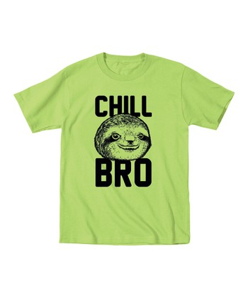Key Lime 'Chill Bro' Sloth Tee - Toddler & Kids