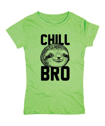 KidTeeZ Key Lime 'Chill Bro' Fitted Tee - Girls