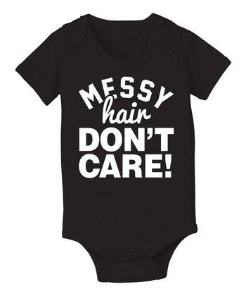 KidTeeZ Black 'Messy Hair Don't Care' Bodysuit - Infant