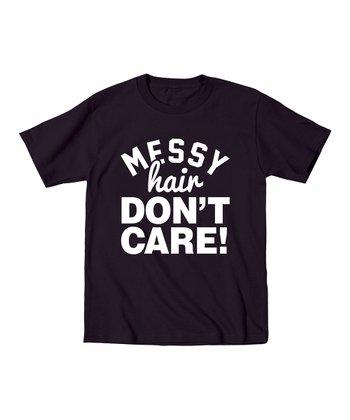 KidTeeZ Black 'Messy Hair Don't Care' Tee - Toddler & Kids