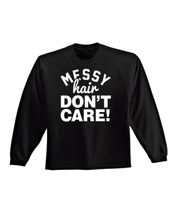 KidTeeZ Black 'Messy Hair Don't Care' Long-Sleeve Tee - Infant & Toddler