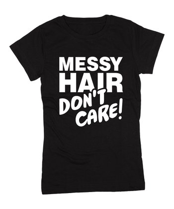 KidTeeZ Black 'Messy Hair Don't Care' Fitted Tee - Girls
