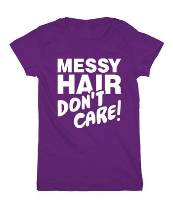 KidTeeZ Purple 'Messy Hair Don't Care' Fitted Tee - Girls