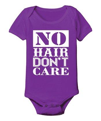 KidTeeZ Purple 'No Hair Don't Care' Bodysuit - Infant