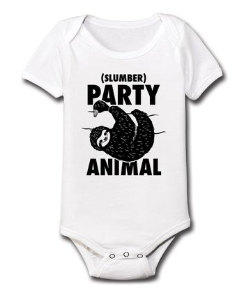 White 'Slumber Party Animal' Bodysuit - Infant