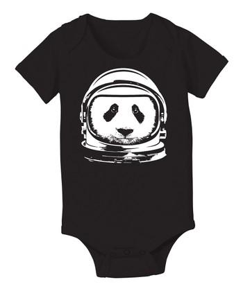 KidTeeZ Black Astronaut Panda Bodysuit - Infant