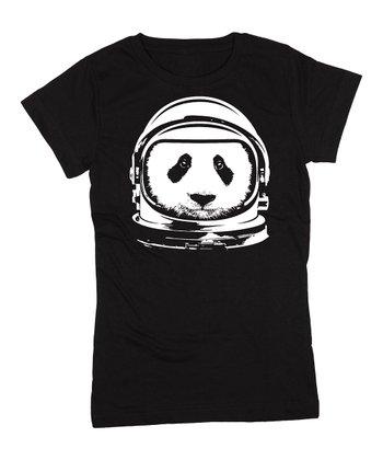 KidTeeZ Black Astronaut Panda Fitted Tee - Girls