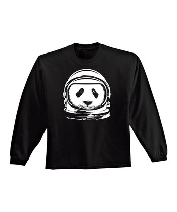 KidTeeZ Black Astronaut Panda Long-Sleeve Tee - Toddler
