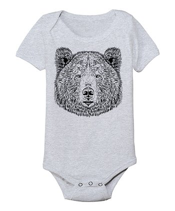 Athletic Heather Bear Face Bodysuit - Infant