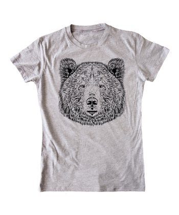 KidTeeZ Athletic Heather Bear Face Fitted Tee - Girls