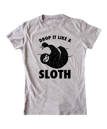 KidTeeZ Athletic Heather 'Drop It Like A Sloth' Fitted Tee - Girls