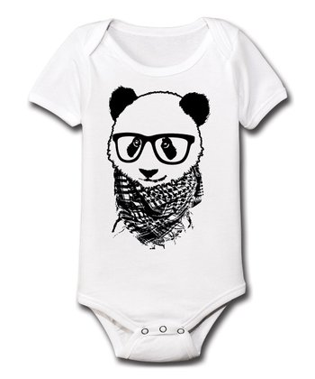 White Hipster Panda Bodysuit - Infant