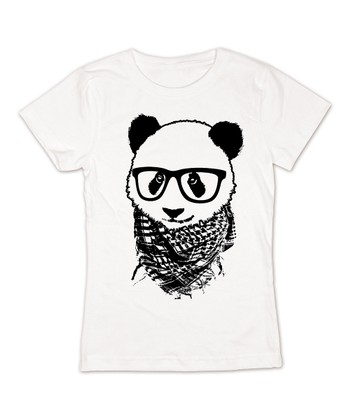 KidTeeZ White Hipster Panda Fitted Tee - Girls