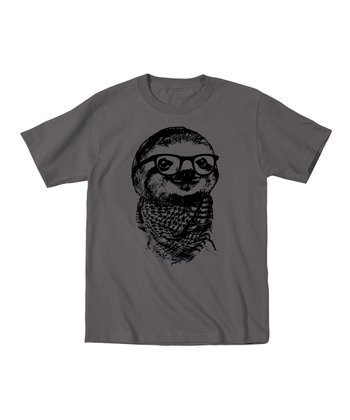 KidTeeZ Charcoal Hipster Sloth Tee - Toddler & Kids