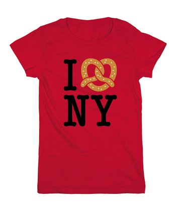 KidTeeZ Red 'I Love NY' Fitted Tee - Girls