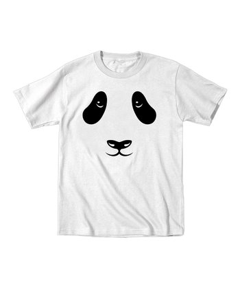 White Panda Face Tee - Toddler & Kids