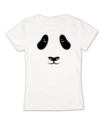 KidTeeZ White Panda Face Fitted Tee - Girls