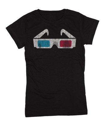 KidTeeZ Black 3D Glasses Fitted Tee - Girls