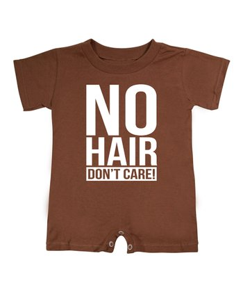 KidTeeZ Brown 'No Hair Don't Care' Romper - Infant