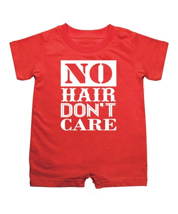 KidTeeZ Red' No Hair Don't Care' Romper - Infant