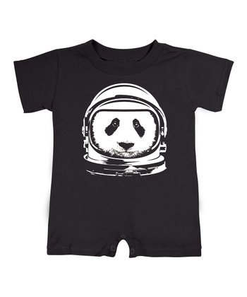 Black Astronaut Panda Romper - Infant