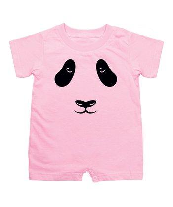 KidTeeZ Light Pink Panda Face Romper - Infant