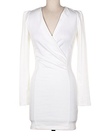 White Long-Sleeve Surplice Sheath Dress
