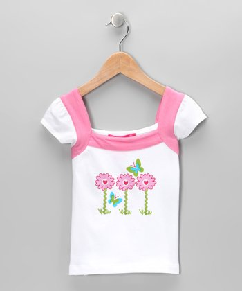 White & Pink Butterfly Top - Infant, Toddler & Girls