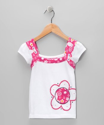 White & Pink Cat Top - Infant, Toddler & Girls
