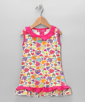 White & Pink Heart Ruffle Tunic - Toddler & Girls