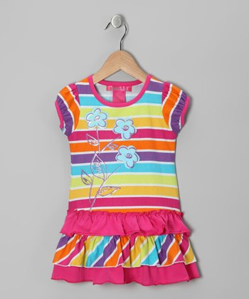 Pink Stripe Flower Ruffle Tunic - Toddler & Girls