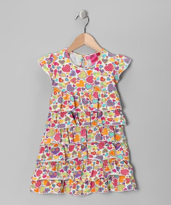 White Heart Tier Ruffle Dress - Toddler & Girls