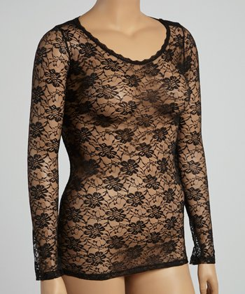 Tuxedo Black Long-Sleeve Top - Women & Plus