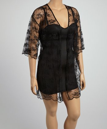 Tuxedo Black Lace Robe - Plus