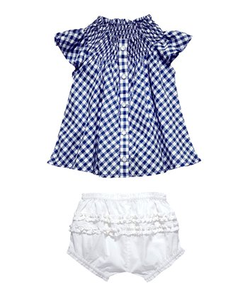 Masala Baby Navy Gingham Top & Bloomers - Infant